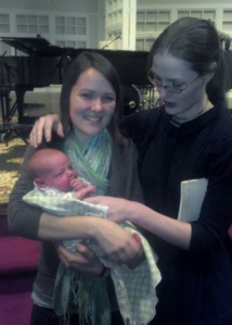 Christina with her sister Suzanne and holding nephew Jack