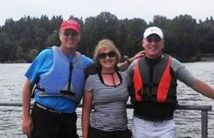 Preparing to kayak with my brother Rob and sister Kris prior to hike